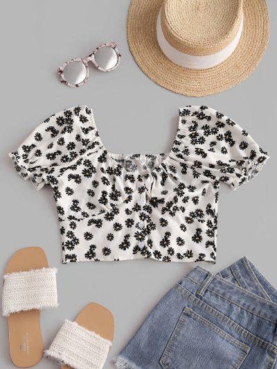Daisy Floral Puff Sleeve Crop Smocked Blouse - White M