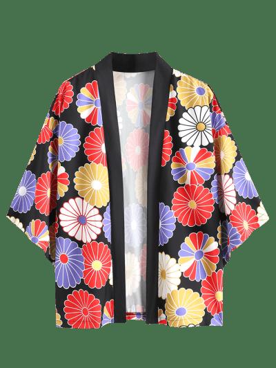 Colorful Flower Print Open Front Kimono Cardigan