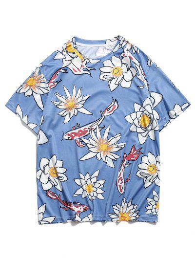 Flower And Fish Print Round Neck T-shirt - Blue 2xl