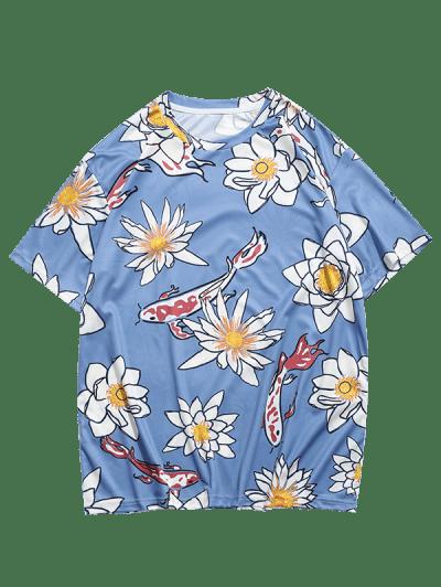 Flower and Fish Print Round Neck T-shirt