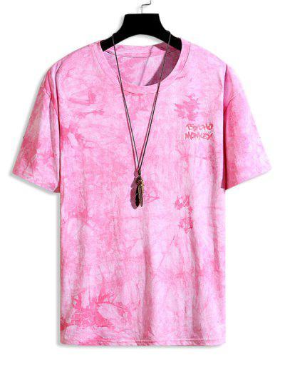 Tie Dye Star Graphic Drop Shoulder Crew Neck T Shirt - Neon Pink M