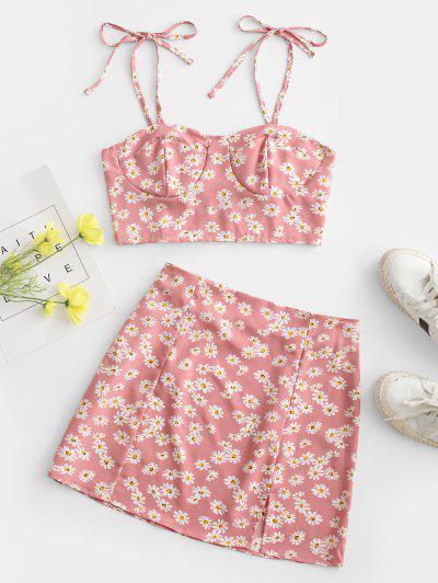 Vestido De Duas Peças Sem Mangas Com Franzido E Estampa Floral - Rosa Claro L