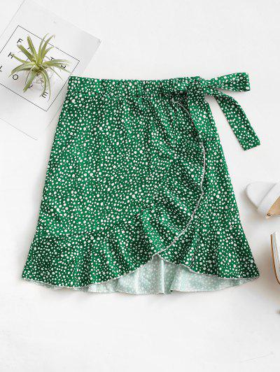 Leopard Speckled Floral Ruffles Knotted Mini Skirt - Green Xl