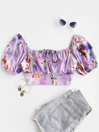 ZAFUL Keyhole Renaissance Print Puff Sleeve Crop T-shirt - Light Purple M