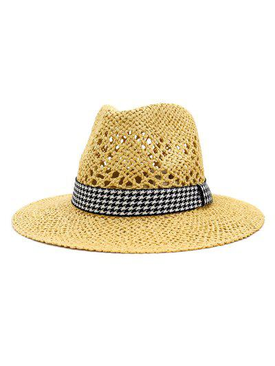 Outdoor Houndstooth Embellished Straw Hat - Cornsilk