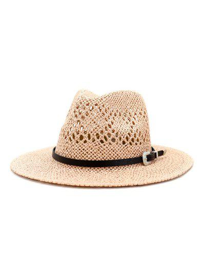 Beach Buckle Belt Hollow Out Straw Hat - Light Pink