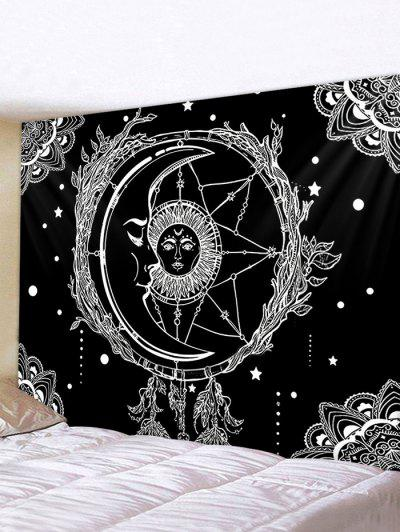 Sun And Moon Digital Printing Waterproof Tapestry - Multi W59 X L51 Inch