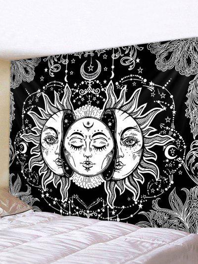 Digital Print Sun And Moon Face Waterproof Tapestry - Multi W91 X L71 Polegadas