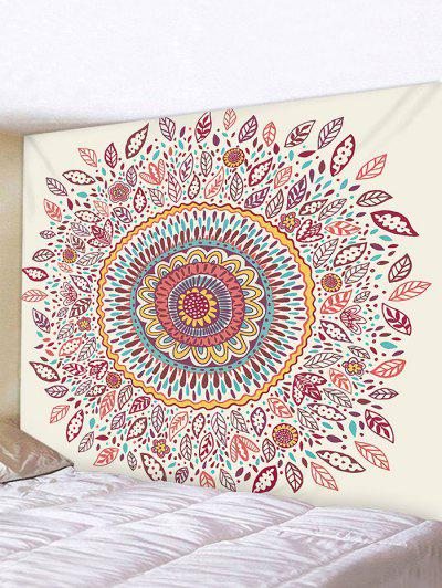 Bohemian Flower Print Wall Art Tapestry - Light Coffee W91 X L71 Inch