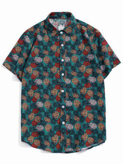 Tropical Pineapple Print Short Sleeve Button Up Shirt - Green Xs