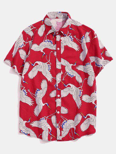 Chemise Orientale Imprimée Boutonnée à Manches Courtes - Rouge Xl