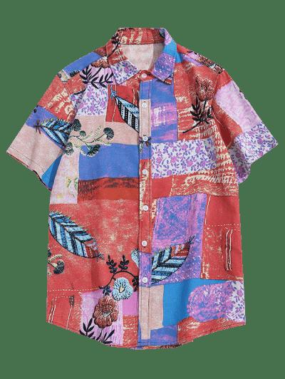 Floral Pattern Block Linen Button Up Shirt