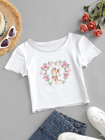 フラワーエンジェルプリントクロップTシャツ - 白 M