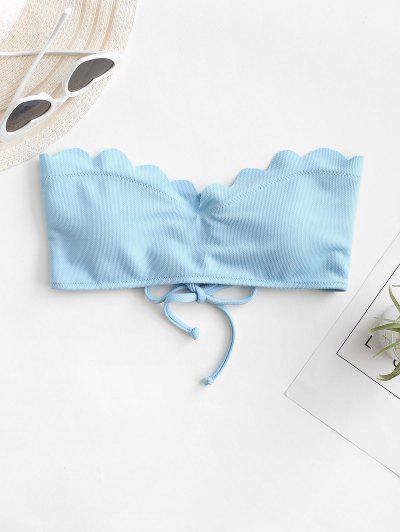 ZAFUL Haut De Bikini Bandeau Texturé Festonné - Bleu Clair L