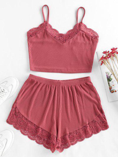 ZAFUL Ribbed Lace Insert Loose Shorts Set - Tulip Pink S