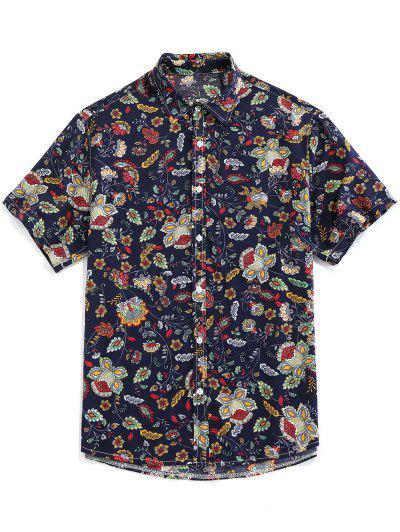 ZAFUL Floral Print Button Up Vintage Shirt - Deep Blue L