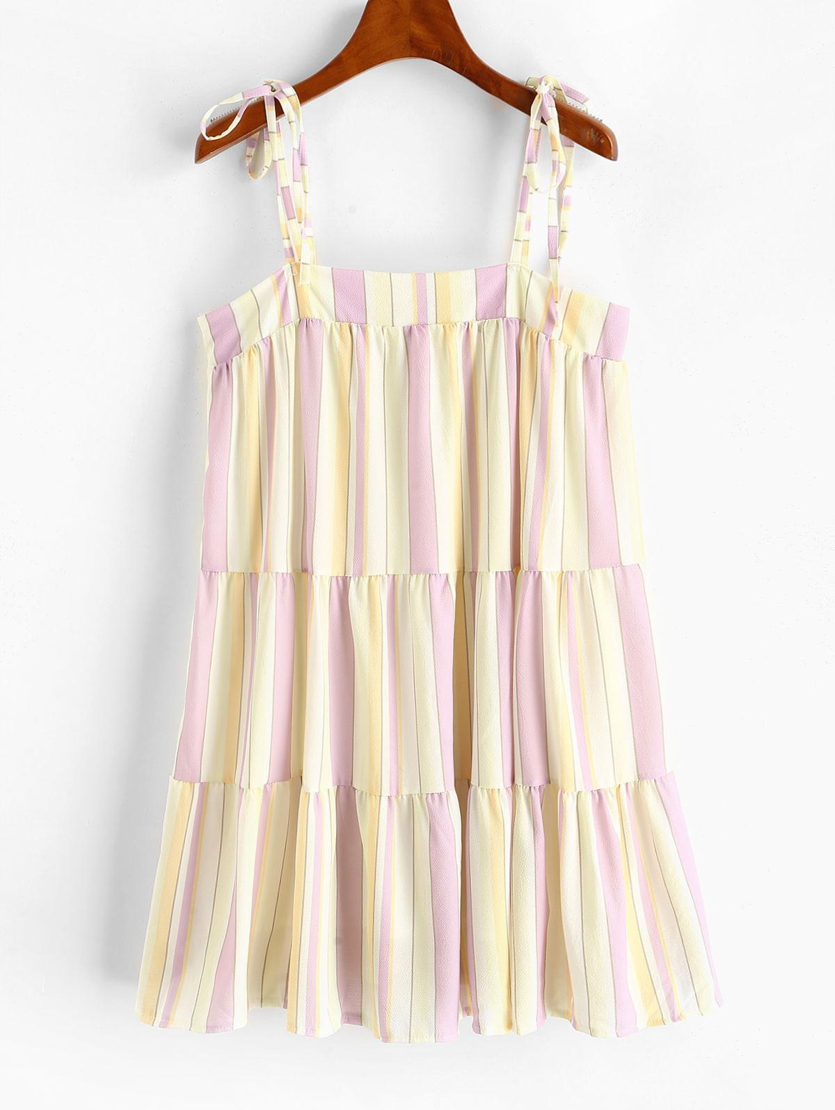 Tie Shoulder Stripes Mini Dress