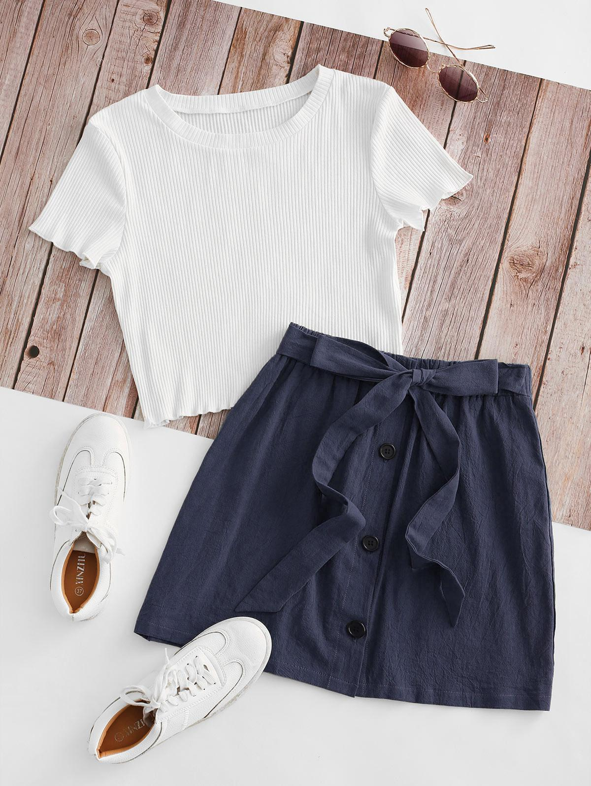 Ribbed Button Down Two Piece Dress