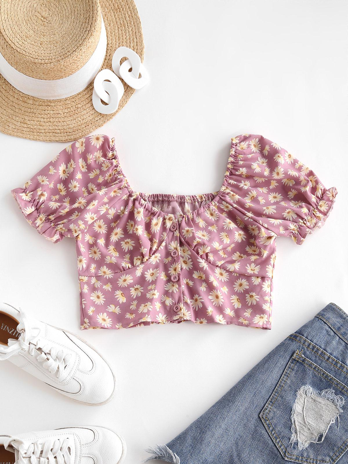 Daisy Floral Puff Sleeve Crop Smocked Blouse