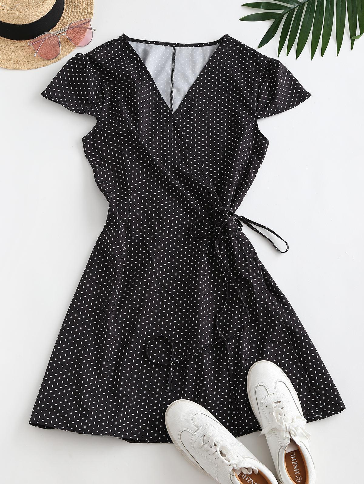Polka Dot Cap Sleeve Wrap Dress