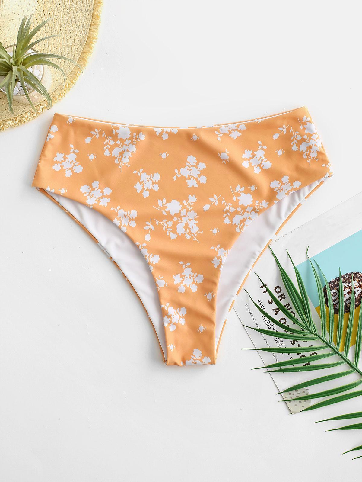 ZAFUL Ditsy Print High Waisted Bikini Bottom
