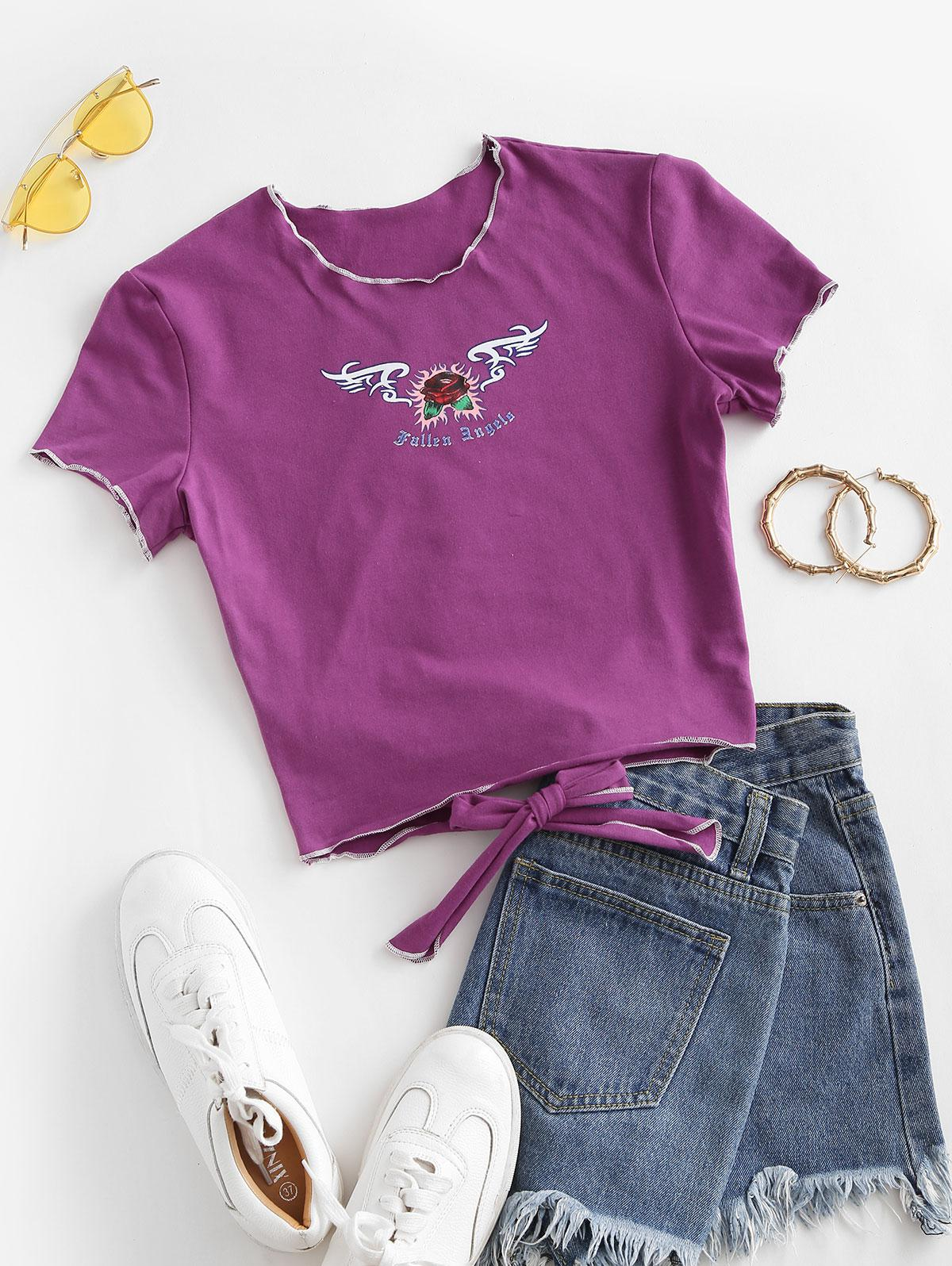 Tie Back Cool Graphic Cropped Tee
