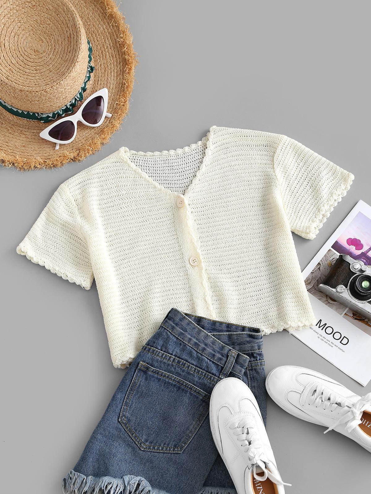 Button Up Scalloped Trim Knitted Tee