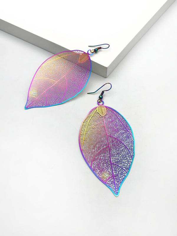 Colorful Hollow Out Leaf Hook Earrings