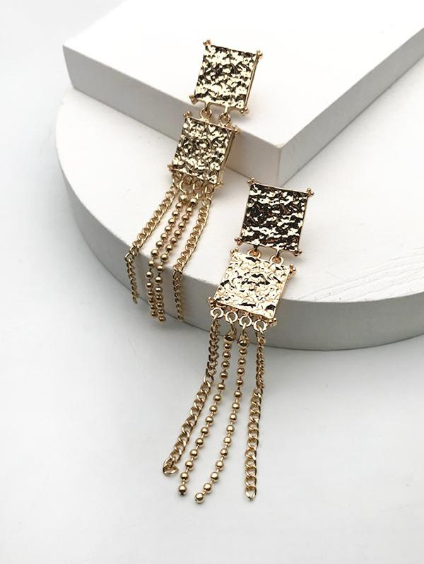Square Long Chain Drop Earrings
