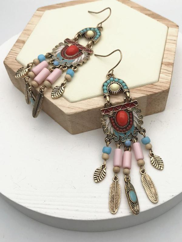 Ethnic Mixed Color Beads Fringe Earrings