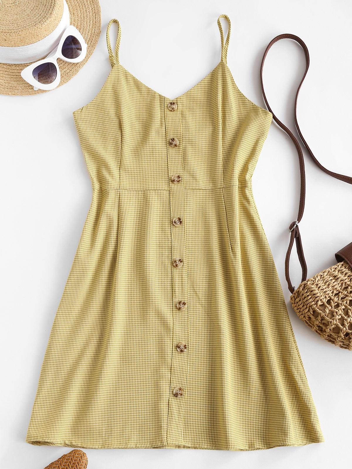 Gingham Button Front Cami Sundress