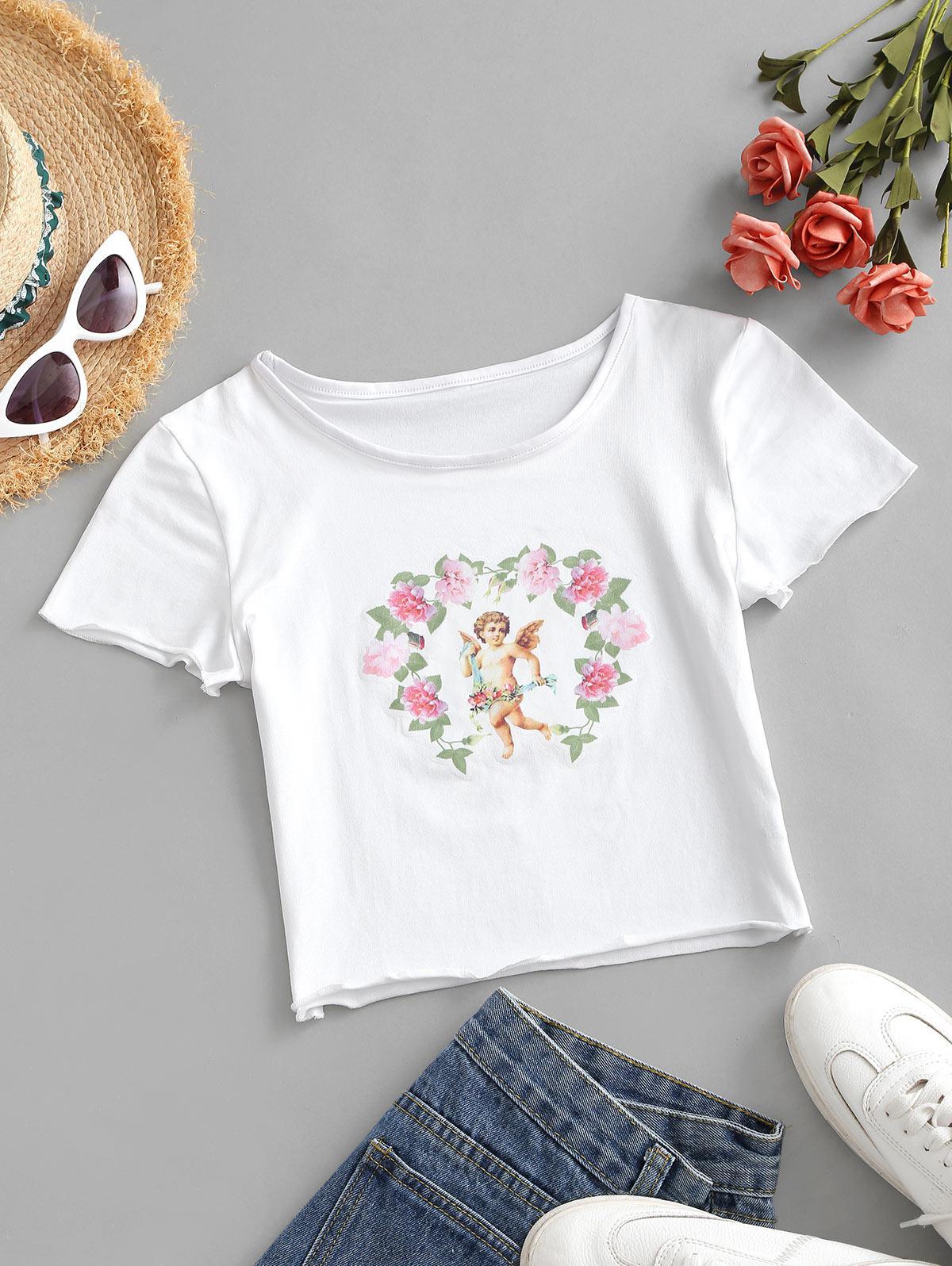 Flower Angel Print Crop T-shirt