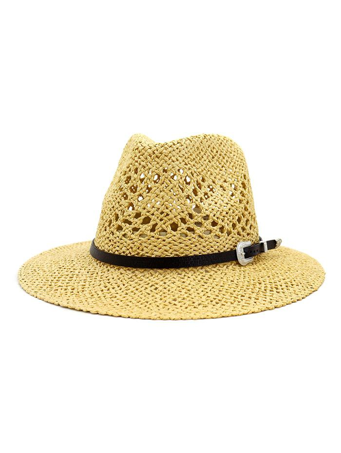 Beach Buckle Belt Hollow Out Straw Hat