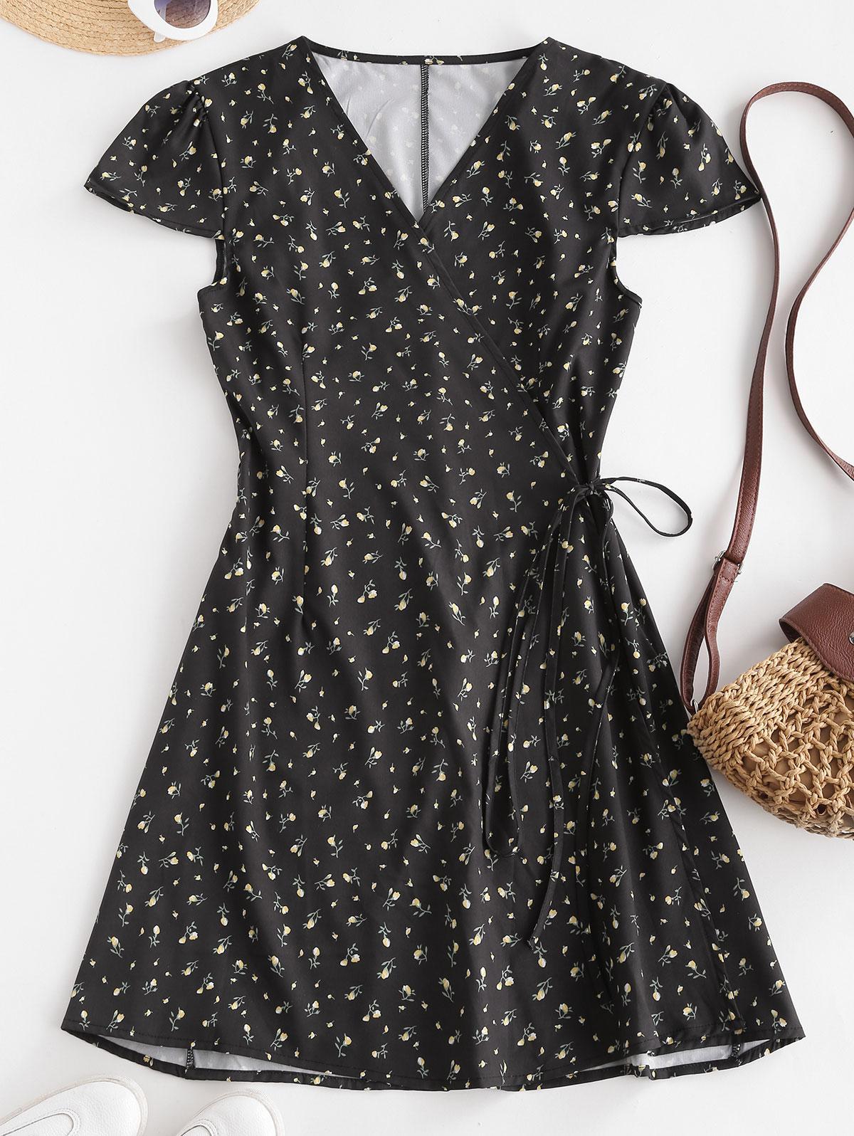 Ditsy Floral Cap Sleeve Mini Wrap Dress