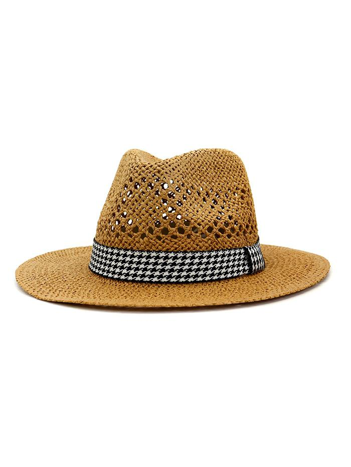 Outdoor Houndstooth Embellished Straw Hat