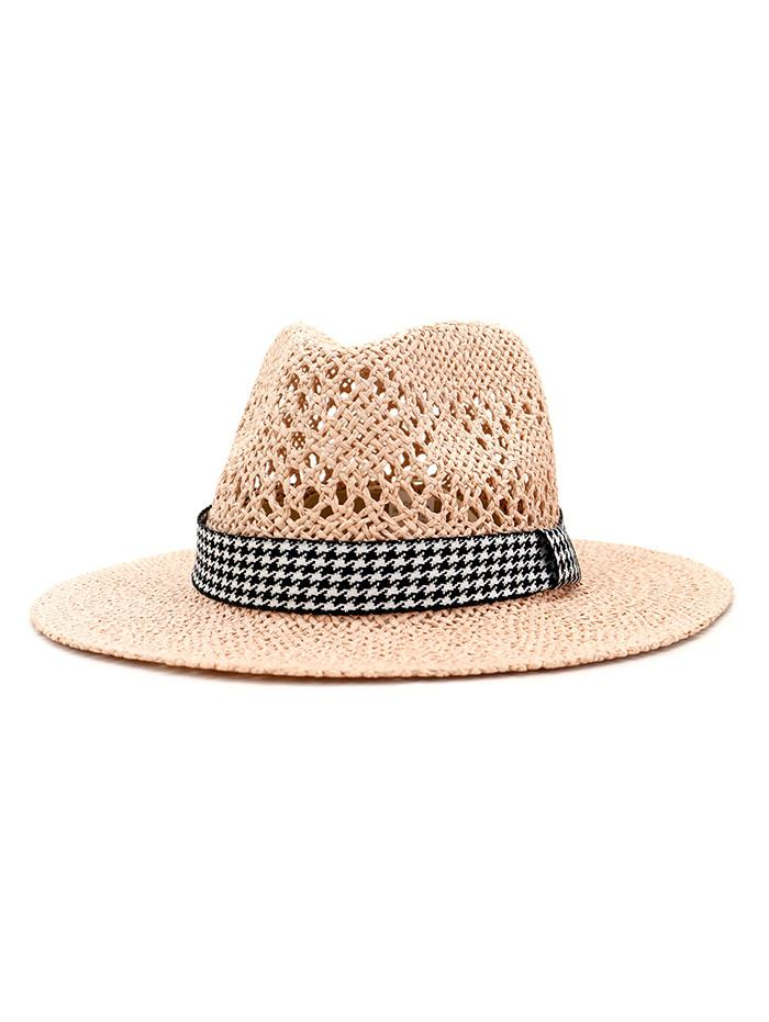 Outdoor Houndstooth Embellished Straw Hat