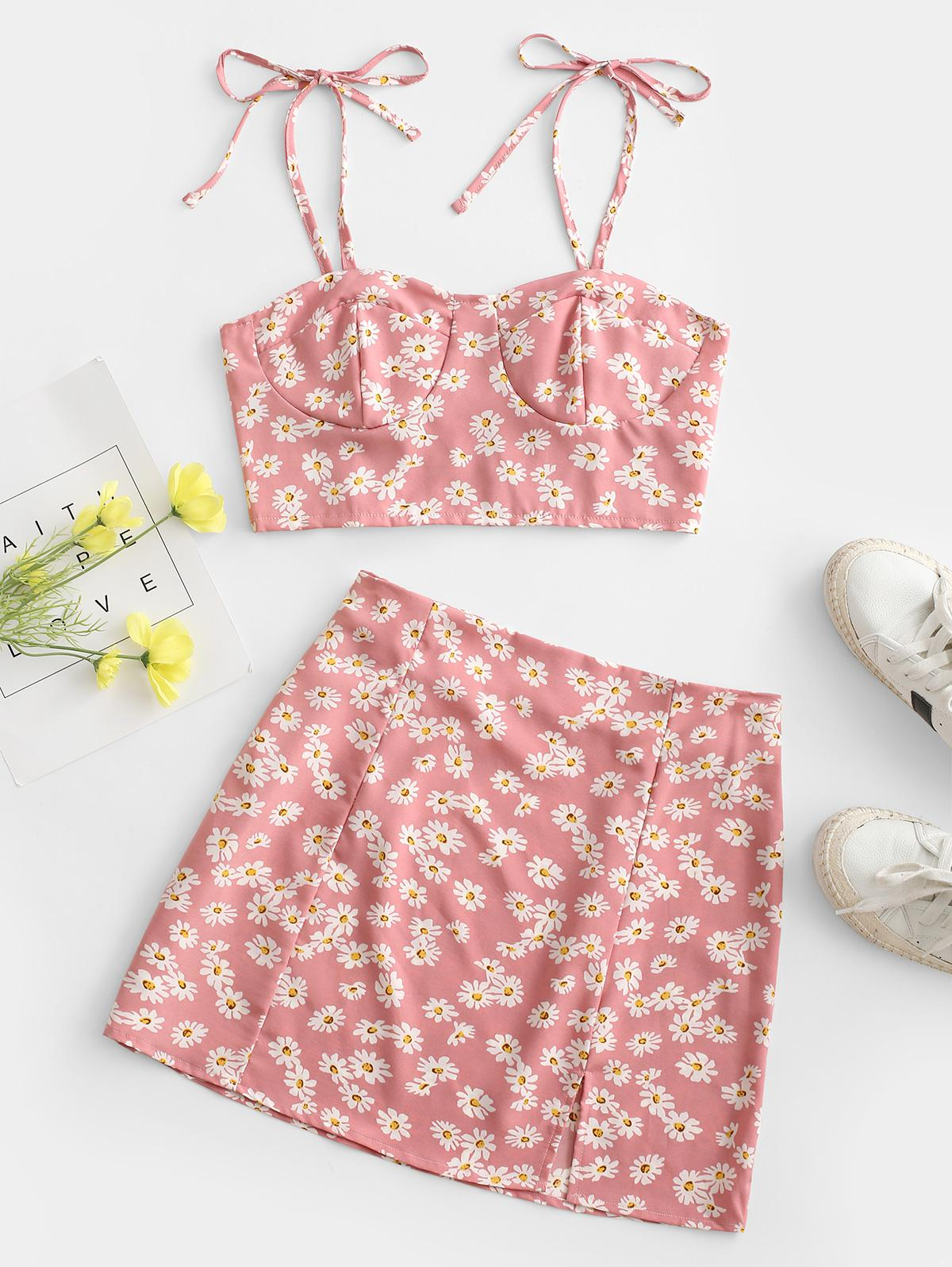 Floral Tie Smocked Bustier Two Piece Dress