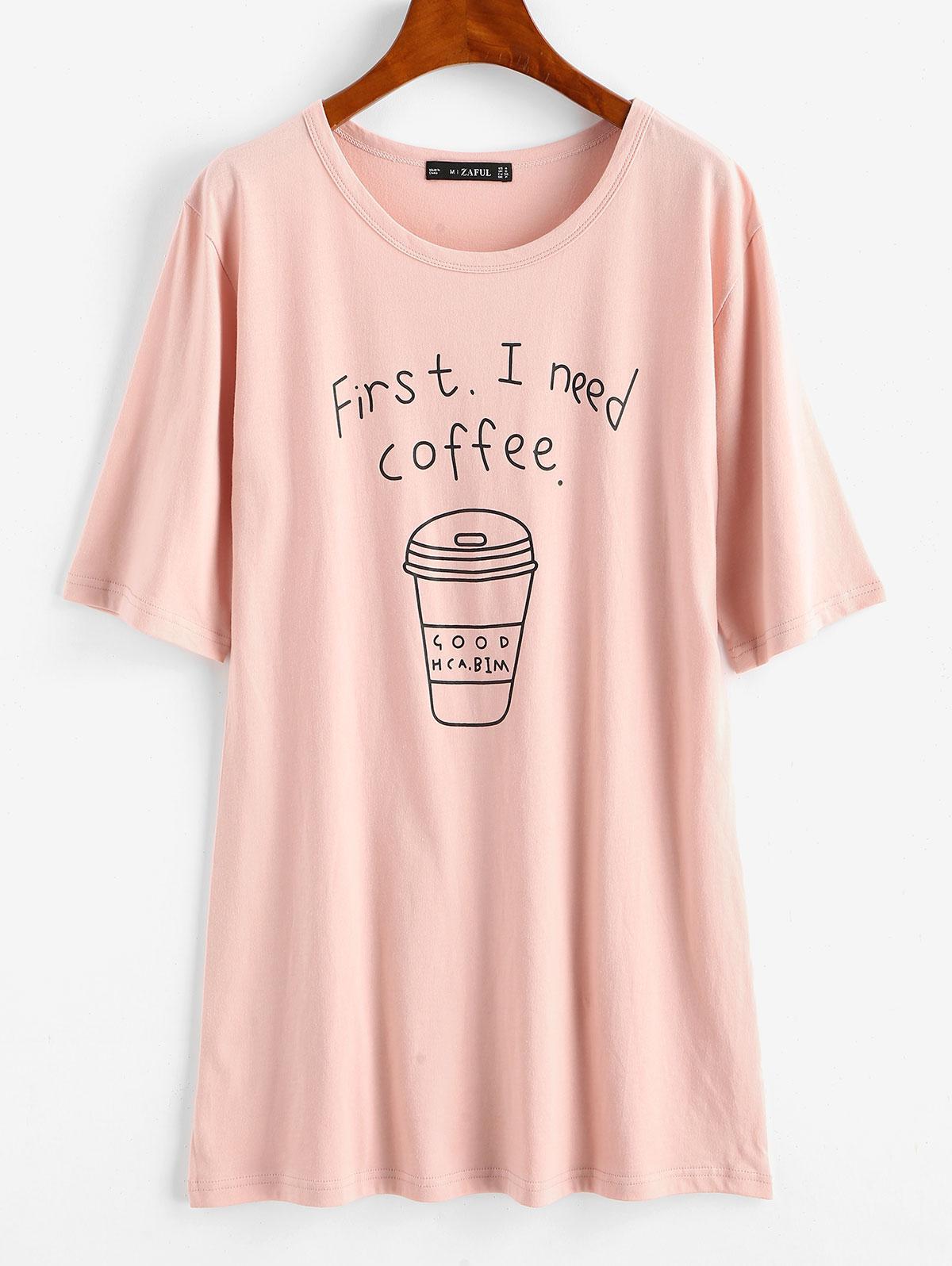 T-shirt Tunique Graphique Café - ZAFUL - Modalova