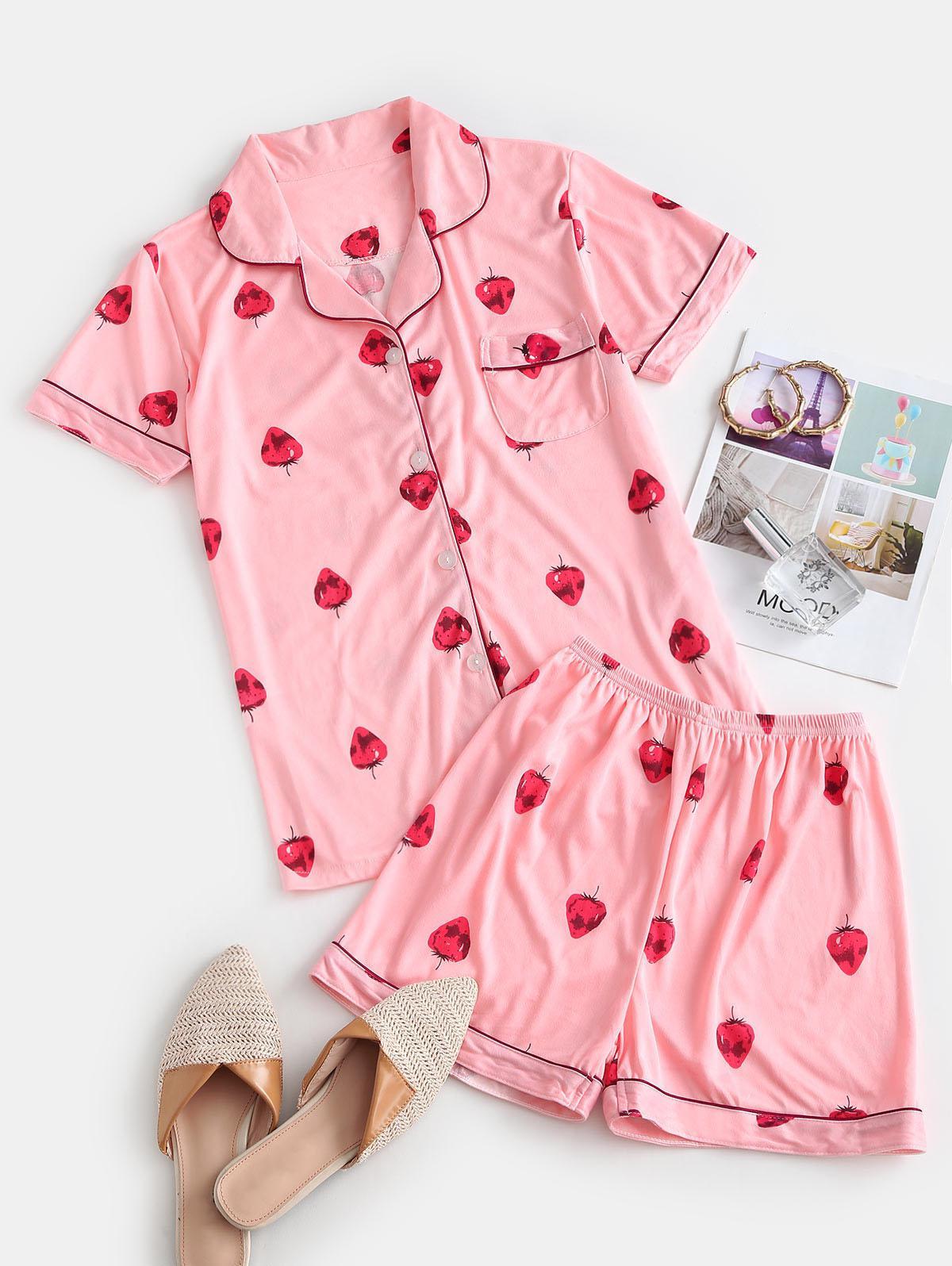 Front Pocket Strawberry Two Piece Pajama Set