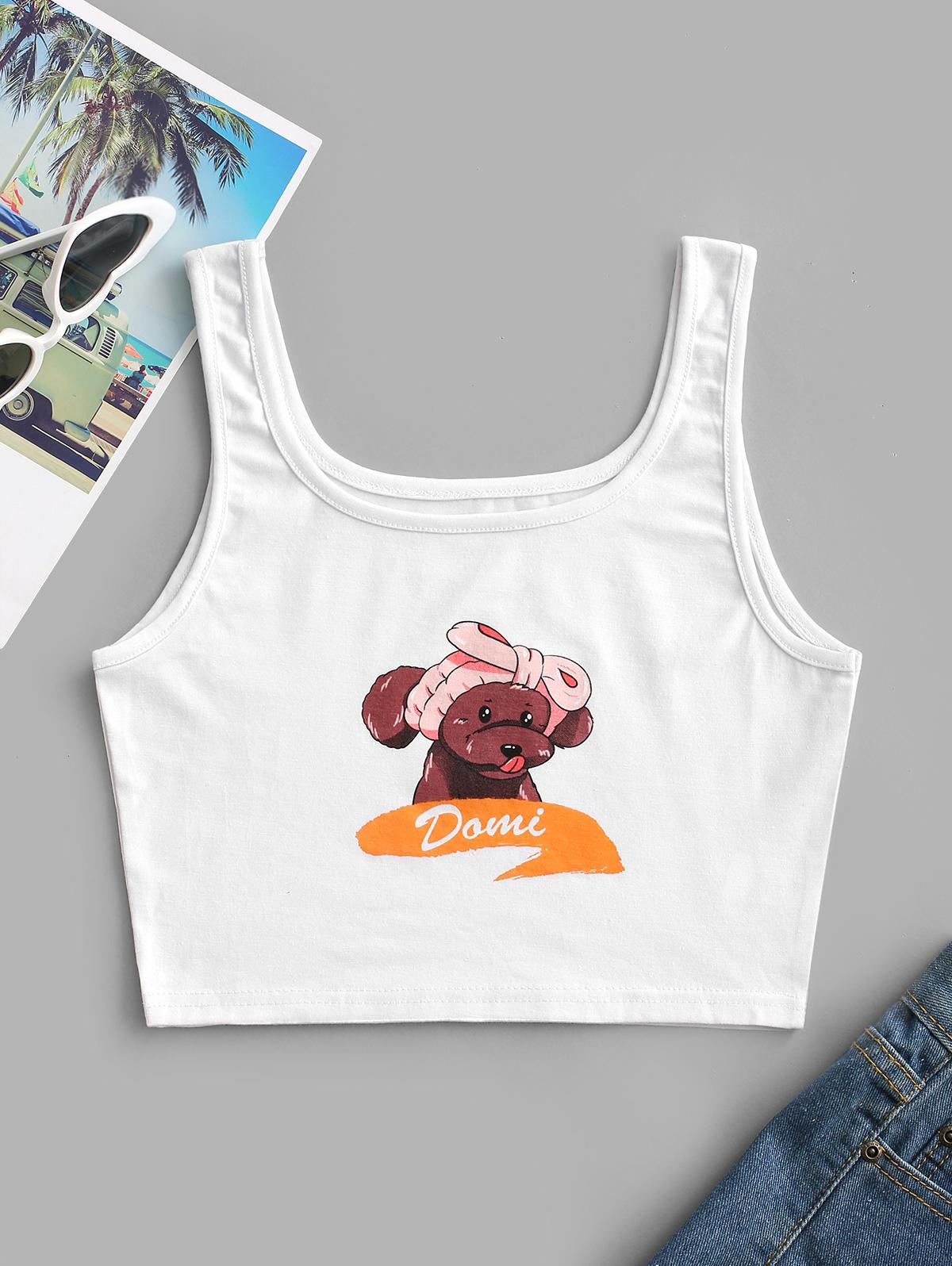Dog Graphic Cropped Tank Top