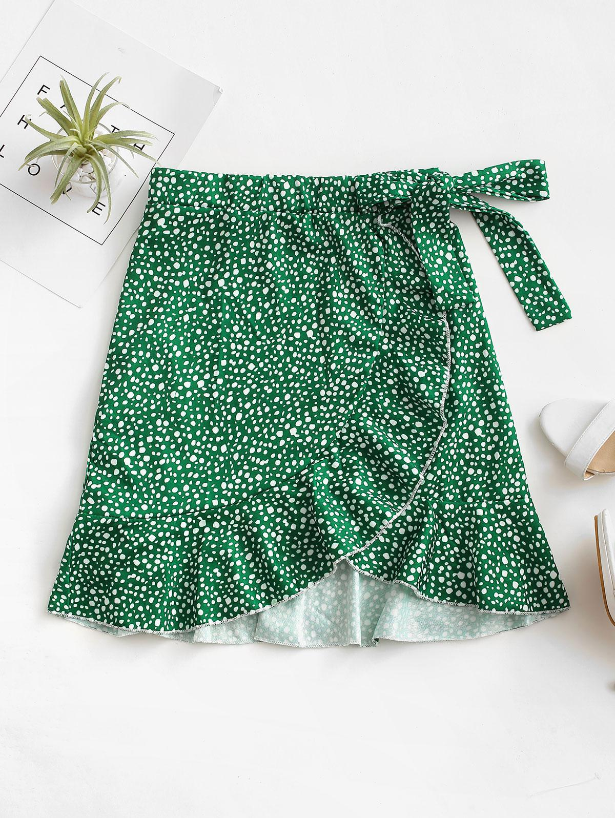 Leopard Speckled Floral Ruffles Knotted Mini Skirt
