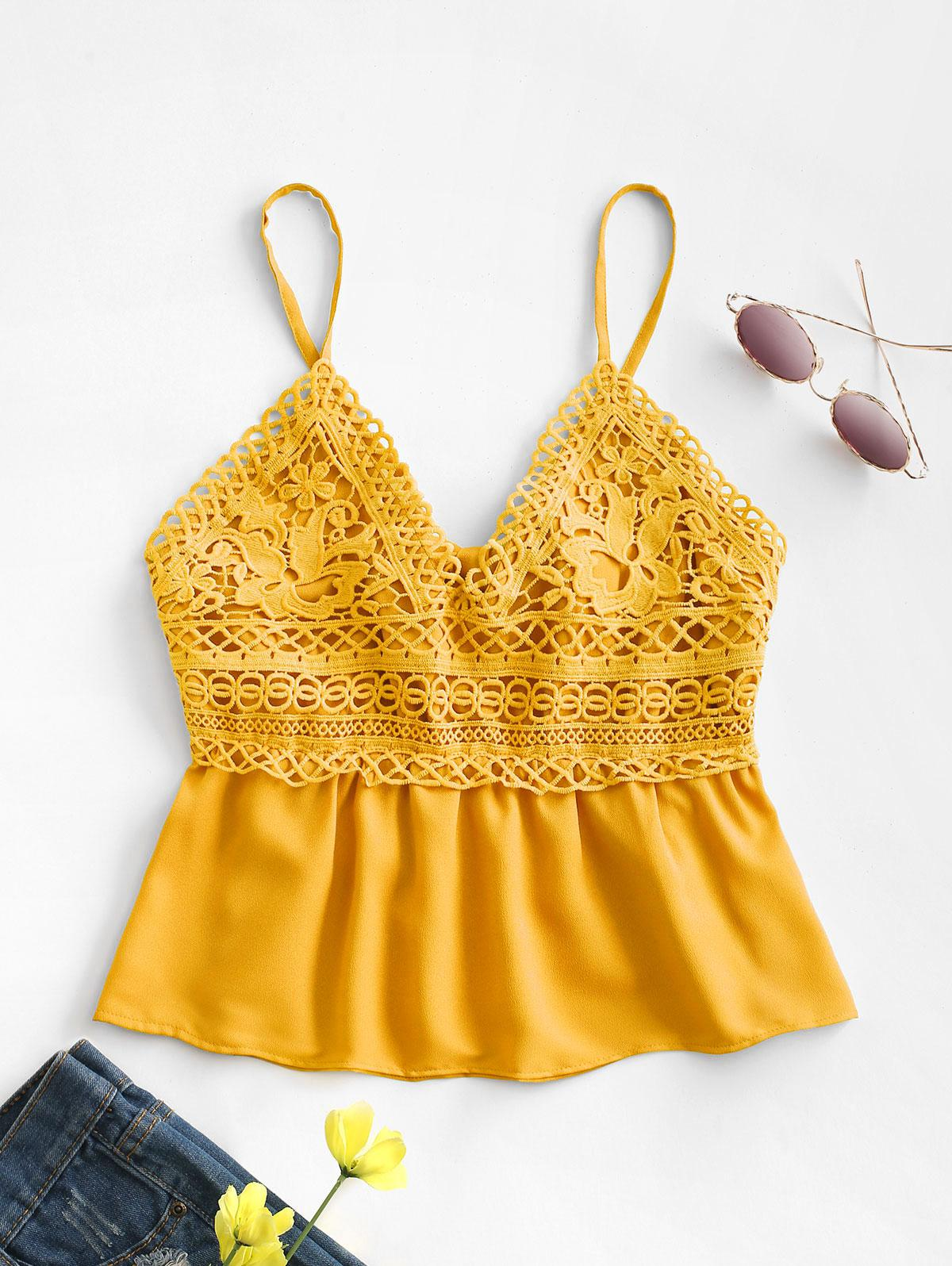 Crochet Lace Panel Back Knot Cami Top
