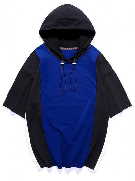 Color Blocking Panel Hooded T-shirt - Blueberry Blue 3XL