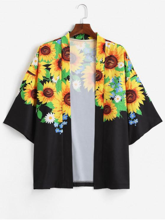unique Sunflower Printed Open Front Kimono Cardigan - MULTI-A 2XL