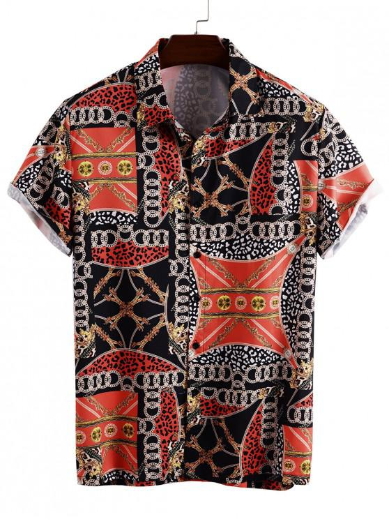women's Chain Pattern Button Down Shirt - BLACK 3XL