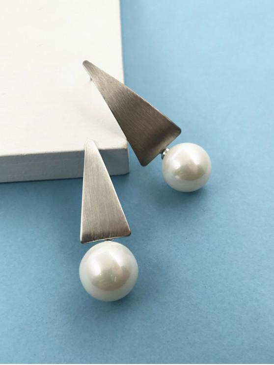 women's Geometric Shape Artificial Pearl Earrings - SILVER