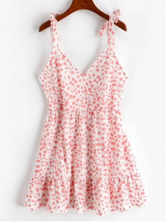 ladies Tie Shoulder Surplice Leopard Flounce Dress - LIGHT PINK S