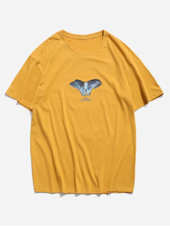Basik X Schmetterling Muster T-Shirt - Orange Gold 3XL