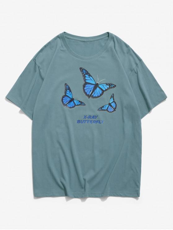 X-ray Butterfly Graphic Basic T Shirt - الحرير الأزرق 3XL