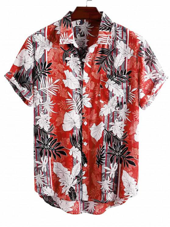 fashion Tropical Leaf Striped Pattern Vacation Shirt - RED 3XL
